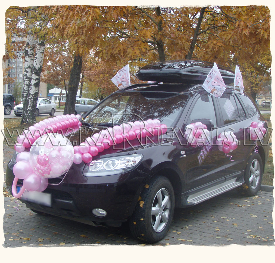 New baby welcome home car balloon decoration car for Automobile decorations home